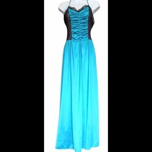 Blue&black lace night gown